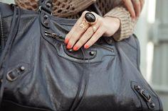balenciaga bag + ysl ring= perfect