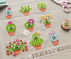 Freja the Cactus Cross Stitch Pattern PDF Prickly but Cute Cactus Cross Stitch, Cross Stitch Floss, Counted Cross Stitch Patterns, Cross Stitch Embroidery, Cute Stitch, Pdf Patterns, Handicraft, Needlepoint, Sewing Projects