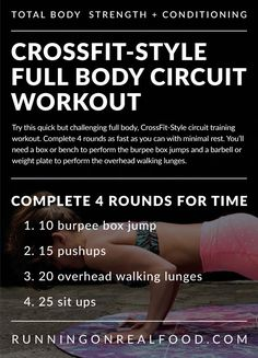 Try this Full Body Conditioning Workout, a challenging CrossFit-Style WOD that will work your entire body and improve your cardio. Minimal equipment needed.