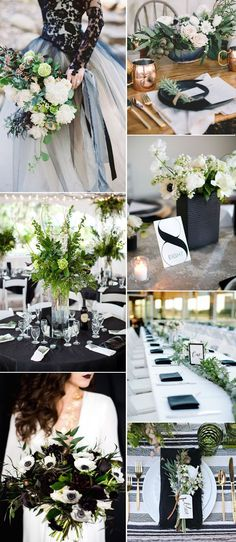 honorable black and greenery wedding color  combo ideas