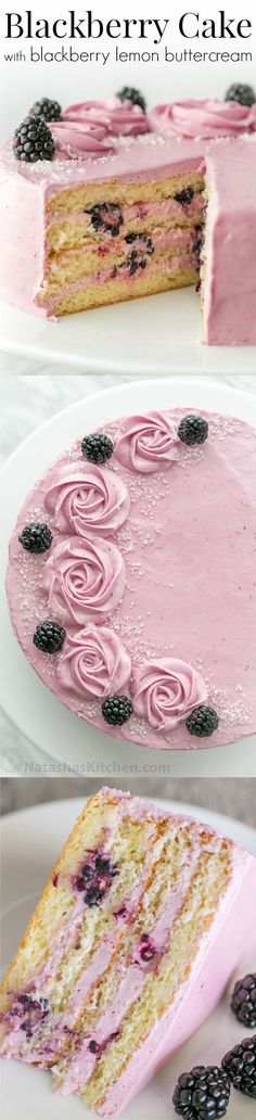 Soft and moist blackberry cake with fluffy blackberry lemon. Soft and moist blackberry cake with fluffy blackberry lemon buttercream frosting. This blackberry lemon cake is sweet and tart with plenty of juicy berries! by Driscolls Berries Sweet Recipes, Cake Recipes, Dessert Recipes, Food Cakes, Cupcake Cakes, Bolo Fresco, Lemon Buttercream Frosting, Fluffy Frosting, Blackberry Cake