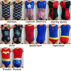 Super Hero Comic Leotard Gymnastics Dance Cheer Ice par LeoLines