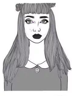 Black Line Drawings Tumblr Hipster, Tumblr Girls, Hipster Grunge, Aesthetic Drawing, Aesthetic Art, Smash Book, Doodle Drawings, Doodle Art, Tumblr Outline