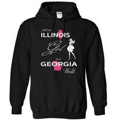 ILLINOIS GIRL IN GEORGIA WORLD - #gift for girls #small gift. WANT => https://www.sunfrog.com/LifeStyle/ILLINOIS_GEORGIA-Black-75895185-Hoodie.html?68278