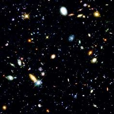 The Hubble Deep Field: These are not stars. These are galaxies. Each containing billions of stars. And each star has a collection of planets revolving around it, just like our own solar system. We forget all too often just how small we really are.