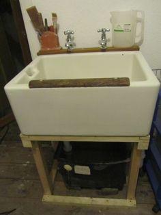 LaBelleMariposa - art studio must have a sink!  ceramic studio space - sink