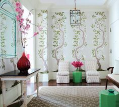 Elegant Chinoiserie Wallpaper To Beautify Your Rooms: Wonderful White Chinoiserie Wallpaper In The Living Room With Big Red Vase On The White Black Table Combined With White Wooden Couch And Patterned Rug Completed With White Chairs Flanking Small Table ~ crgrafix.com Contemporary Home Design Inspiration