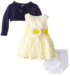 Rare Editions Baby Baby-Girls Newborn Floral Print Dress with Shrug, Yellow/Navy