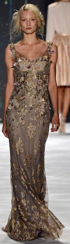 #� Badgley Mischka Spring Summer 2013 Ready-To-Wear collection � http://www.vogue.it/en/shows/show/spring-summer-2013-ready-to-wear/badgley-mischka/collection/501383 Brown Dress #2dayslook #BrownDress #anoukblokker #lily25789 www.2dayslook.com
