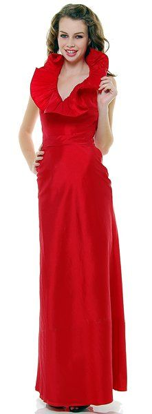 Full Length Formal Dress Red Large Ruffle Collar Fitted Taffeta Gown $79.99