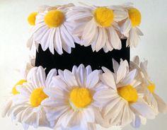 Vintage Bucket Church Hat  w/Daisy Flowers & Black by lynncompany