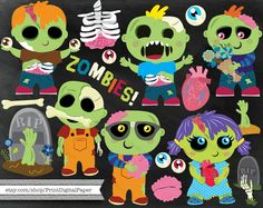 Cute Zombie clip art commercial use instant by ClipartCarnival
