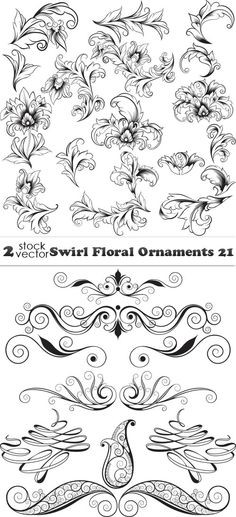 Vectors - Swirl Floral Ornaments 21 2 AI |  TIFF Preview | 18 MB