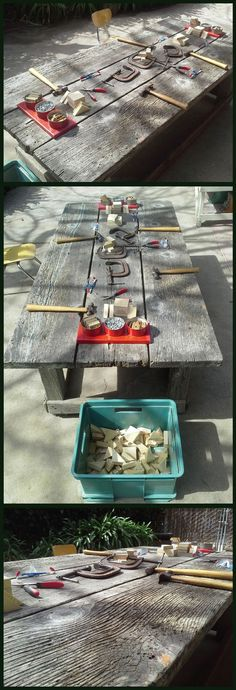 On the patio of every preschool classroom, 3-6 year olds. REAL metal hammers, pliers, clamps, wood scraps, safety glasses and yes real nails. Available to the children anytime. Absolutely fantastic!!!!