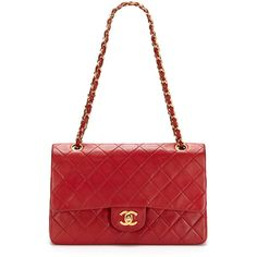 Chanel Vintage Red Quilted Lambskin Leather Classic 2.55 Double Flap... ❤ liked on Polyvore