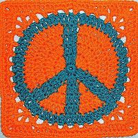 Peace Sign Granny Square Crochet Afghan