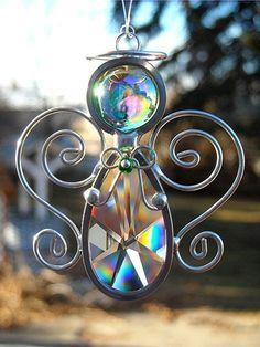 Suncatcher Angel Crystal Prism Home Decor Ornament by JasGlassArt, $15.00