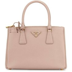 Prada Saffiano Lux Small Double-Zip Tote Bag (15.485 HRK) ❤ liked on Polyvore featuring bags, handbags, tote bags, purses, totes, zippered tote bag, pink purse, prada tote, purse tote and zip top tote bag