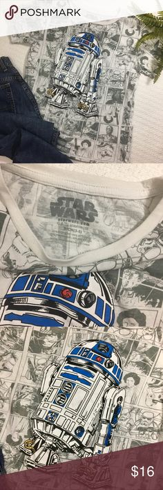 Star Wars R2D2 t shirt Very cool Star Wars shirt with a sketch design all over and r2d2 printed on the front. Great preloved condition!💕 Star Wars Tops Tees - Short Sleeve
