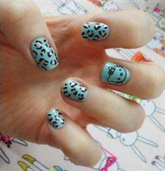 Leopard hello kitty nails