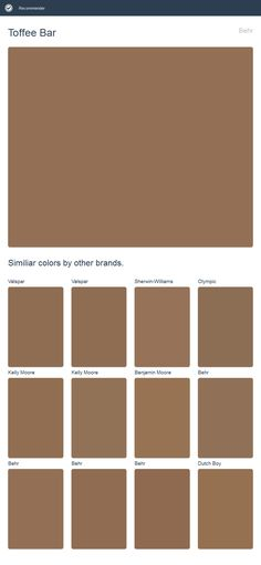 Toffee Bar, Behr. Click the image to see similiar colors by other brands.