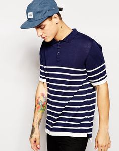 Image 1 of Pull&Bear Striped Polo Shirt