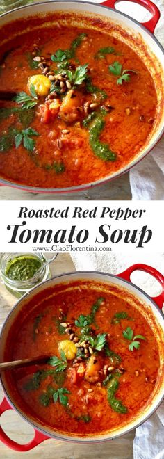 The Best Roasted Red Pepper and Tomato Soup Recipe with Parsley or Basil Pesto and Deep Flavors from Smoked Paprika! Healthy, vegan, paleo and gluten free | CiaoFlorentina.com @CiaoFlorentina
