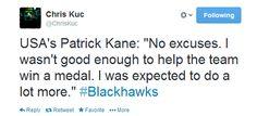 Fallout from the US losing the Bronze. Patrick Kane USA Hockey Chicago Blackhawks Sochi 2014