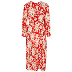 RIXO London Emma Floral-print Silk Midi Dress (1.615 RON) ❤ liked on Polyvore featuring dresses, floral pleated dress, floral printed dress, red floral dress, pleated dress and pleated midi dress