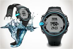 Designed for swimmers, the Gramin Swim watch records all data necessary for swimming training. The swimmer can keep focused on the workout and technique, the watch does the rest. It calculates speed, the number of lengths, calories burned, the efficiency, stroke count and type of stroke practiced.
