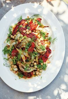Roast Tomatoes, Fennel & Chickpeas with Preserved Lemons & Honey - Diana Henry Roasted Fennel, Roasted Tomatoes, Eat A Peach, Vegetarian Recipes, Cooking Recipes, Preserved Lemons, Fennel Salad, Plum Tomatoes, Heirloom Tomatoes