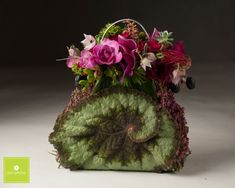 fushia flower purse with begonia leaf, Power of the Purse, Françoise Weeks