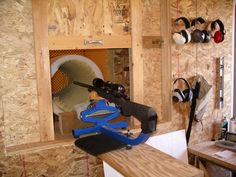 A shooting station to go with the ultimate reloading room. I've read this guy is a mathematician in MT with a yard range. Concrete sewer or culvert piping works to simplify construction. Shooting House, Shooting Bench, Shooting Range, Indoor Shooting, Reloading Room, Outdoor Range, Gun Rooms, Ammo Cans, Shooting Targets