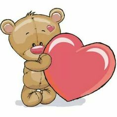 Teddy Bear and Heart Teddy Bear Drawing, Teddy Bear Cartoon, Cute Teddy Bears, Cute Cartoon, Tatty Teddy, Cute Images, Cute Pictures, Animal Drawings, Cute Drawings