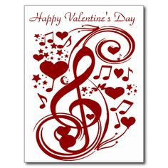 Valentine's Day Love_Postcard Postcard for Valentines Day with music notes and hearts. Low Prices by Elenne Boothe http://www.zazzle.com/valentines_day_love_postcard-239302754459181141