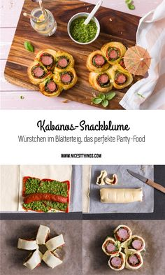 Party Food: Kabanos Snack Blume, Würstchen im Blätterteig, Wurst im Schlafrock