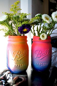 Items similar to Set of 2 Neon Pink and Yellow Ombre Galaxy Mason Jar- Cosmic Inspired - Gorgeous Handmade - Super Unique One-of-a-kind Spring Bright Colors on Etsy Mason Jar Projects, Mason Jar Crafts, Mason Jar Diy, Bottle Crafts, Fun Crafts, Diy And Crafts, Arts And Crafts, Decor Crafts, Diy Projects To Try