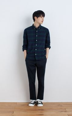 MUJI | OGC FLANNEL CHECK BUTTON DOWN SHIRT | OGC STRETCH CHINO SLIM TROUSERS | WATER REPELLENT ORGANIC COTTON SNEAKERS