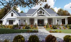 Find your dream modern-farmhouse style house plan such as Plan which is a 2787 sq ft, 3 bed, 2 bath home with 2 garage stalls from Monster House Plans. Modern Farmhouse Plans, Farmhouse Design, Country Farmhouse, Modern Country, Farmhouse Kitchens, Country Home Design, French Country, Farmhouse Bedrooms, Country Bedrooms