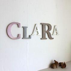 Grand prénom clara vieux rose, gris, blanc , taupe personnalisé - mariage - naissance - lettre géante