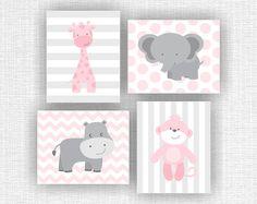 INSTANT DOWNLOAD roze en grijs Baby meisje kwekerij Jungle dieren olifant giraf Hippo Monkey baby meisje kamer decor wordt afgedrukt Set van 4, 8 x 10