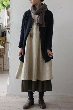 """Mori"" girl means forest girl and the idea is to wear natural fabrics and clothing which looks like you made it and could live in the forest. Loose fitting layers. Vintage. Natural"