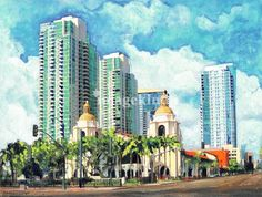 """""""Santa+Fe+Depot+San+Diego+California""""+by+RD+Riccoboni,+San+Diego+//+Santa+Fe+Depot+painted+by+San+Diego+artist+by+RD+Riccoboni+See+Riccoboni+original+paintings+prints+in+person+at+Beacon+Artworks+Gallery+in+Old+Town+San+Diego+California,+Http://beaconartworks.comThe+cities+most+famous+train+station+was+constructed+in+1915+to+compliment+the+b...+//+Imagekind.com+--+Buy+stunning+fine+art+prints,+framed+prints+and+canvas+prints+directly+from+independent+working+artists+and+photographers."""