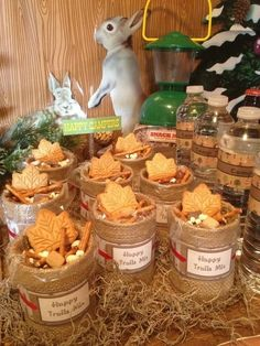 I love the rabbit and the lantern for decoration....great snack mix for Happy Camper Bunco!