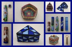 needlecases, trinket boxes and hidden compartment keyring Beaded Boxes, Bead Weaving, Pin Cushions, Trinket Boxes, Cherokee, Seed Beads, Beading, Cases, Cool Stuff