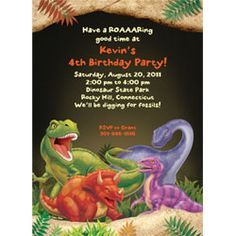 Custom Personalized T Rex Dinosaur Birthday Party Invitation