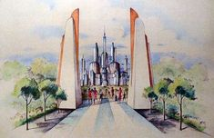 "Tomorrowland, entrance, early concept sketch    Artist unknown, 1953-1954, Colored pencil and gouache on diazo print. 32"" x 20"""