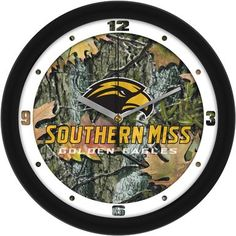 NCAA Southern Mississippi Eagles Camo Wall Clock