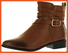 Reneeze Lucia-01 Women Fashion Pointy Toe Flat Ankle Boot With Wrapped Strap, Color:CAMEL, Size:7 - Boots for women (*Amazon Partner-Link)