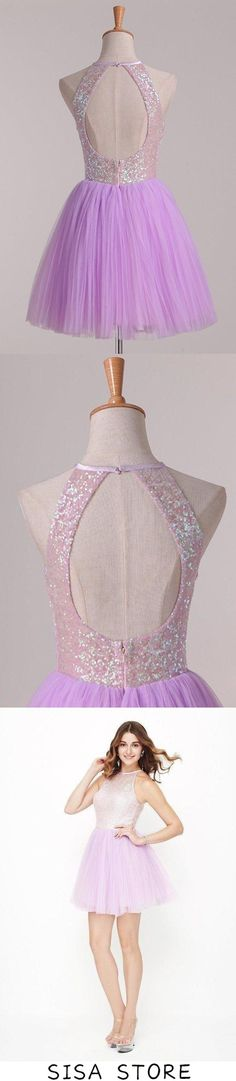 2019 Homecoming Dresses Open Back Scoop Sequined Bodice Tulle Short/Mini, This dress could be custom made, there are no extra cost to do custom size and color Affordable Prom Dresses, Elastic Satin, Fabric Swatches, Homecoming Dresses, Custom Made, Bodice, Tulle, Mini, Color